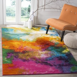 Safavieh Watercolor Contemporary Orange / Green Rug (6' 7 Square)
