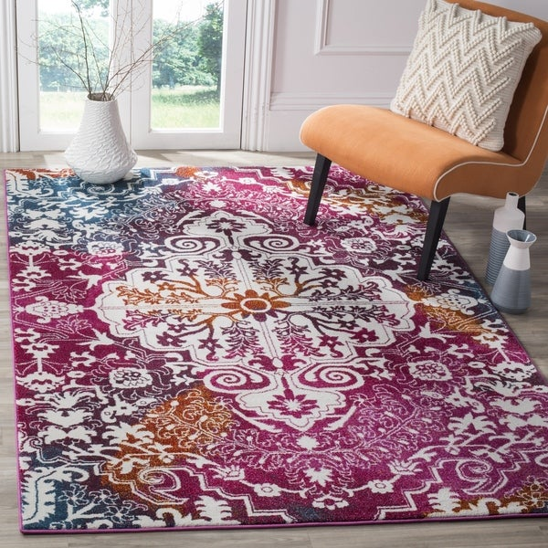Safavieh Watercolor Bohemian Medallion Ivory / Fuchsia Rug (6' 7 Square)