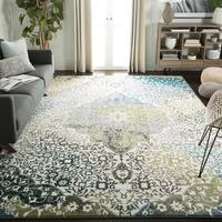 Safavieh Watercolor Bohemian Medallion Ivory / Peacock Blue Rug - 6' 7 Square