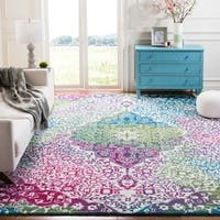 Safavieh Watercolor Bohemian Medallion Ivory / Fuchsia Rug - 6' 7 Square