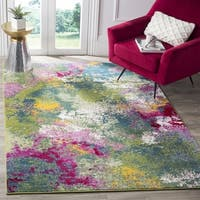Safavieh Watercolor Contemporary Green / Fuchsia Rug - 6' 7 Square