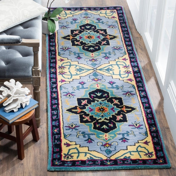 Safavieh Bellagio Hand-Woven Wool Light Blue / Multi Area Rug Runner - 2'3 x 7'