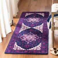 Safavieh Bellagio Handmade Bohemian Purple / Ivory Wool Runner Rug - 2' 3 x 7'