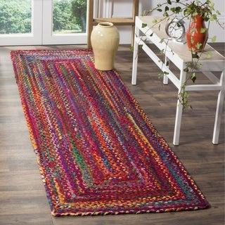 Safavieh Braided Hand-Woven Cotton Red / Multi Area Rug Runner (2'3 x 8')