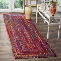 Safavieh Braided Hand-Woven Cotton Red / Multi Area Rug Runner - 2'3 x 8'