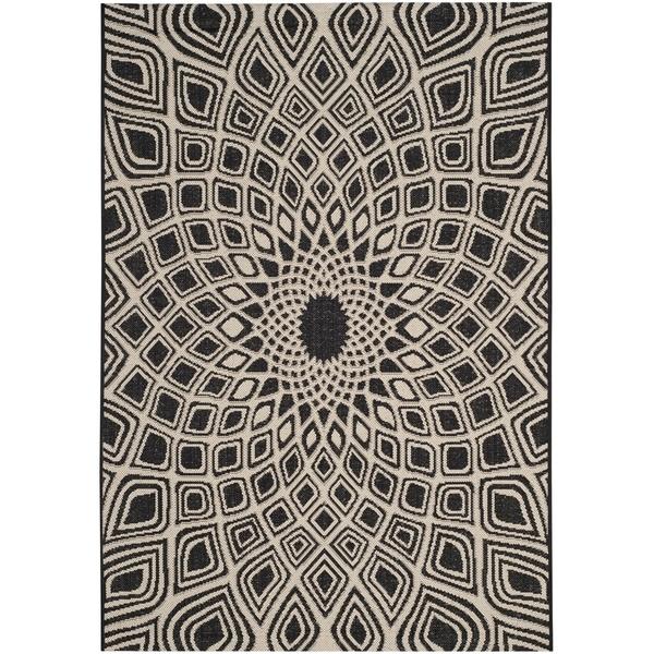 Safavieh Courtyard Optic Black/ Beige Indoor/ Outdoor Runner Rug (2' 7 x 5')