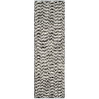 Safavieh Montauk Hand-Woven Cotton Ivory / Dark Grey Area Rug Runner (2'3 x 9')