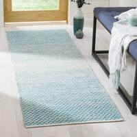 Safavieh Montauk Hand-Woven Cotton Turquoise / Ivory Area Rug Runner - 2'3 x 9'