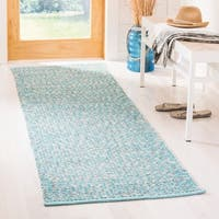 Safavieh Montauk Hand-Woven Cotton Turquoise / Multi Area Rug Runner - 2'3 x 9'