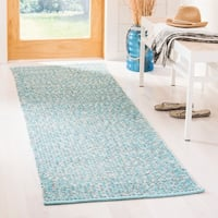 Safavieh Montauk Hand-Woven Cotton Turquoise / Multi Area Rug Runner - 2'3 x 9'