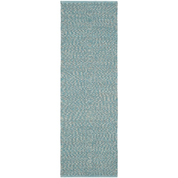 Safavieh Montauk Hand-Woven Cotton Turquoise / Multi Area Rug Runner (2'3 x 9')