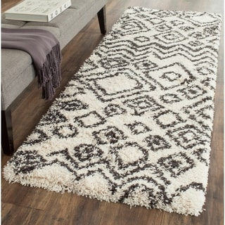 Safavieh Belize Shag Ivory / Charcoal Area Rug Runner (2'3 x 11')