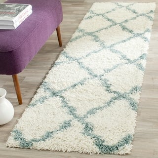 Safavieh Dallas Shag Ivory / Light Blue Area Rug Runner (2'3 x 6')