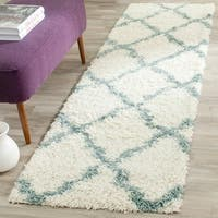 Safavieh Dallas Shag Ivory / Light Blue Area Rug Runner - 2'3 x 6'