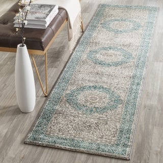 Safavieh Sofia Vintage Medallion Light Grey/ Blue Runner Rug