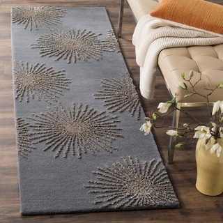 Safavieh SoHo Hand-Woven Wool Dark Grey / Silver Area Rug Runner (2'6 x 8')