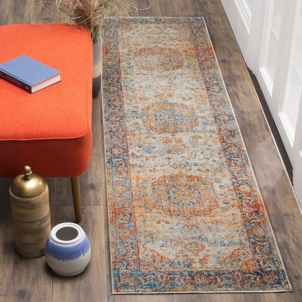 "Safavieh Vintage Persian Blue/ Multi Distressed Runner Rug - 2'2"" x 6'"