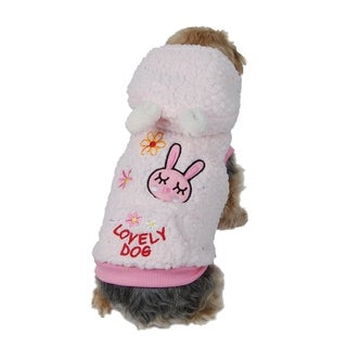 Anima Pink Cute Warm Thick Fleece Fabric Bunny Dog Hoodie with Kangaroo Pouch Pocket