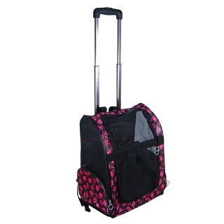 Anima One Size Pink Pet Carrier Dog Rolling Backpack Wheel Luggage Bag Stroller for Travel/ Airline
