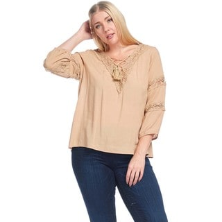 Hadari Women's Plus Size Casual V-Neck Boho Blouse Top