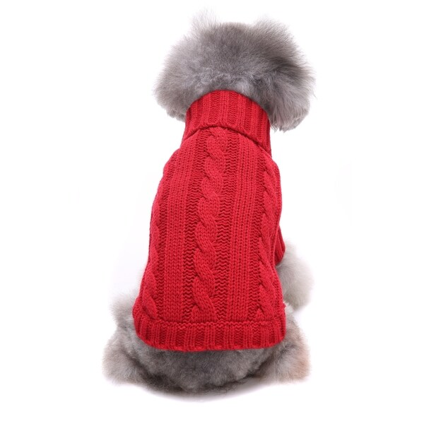 Anima Red Classic Cable Knit Dog and Pet Sweater