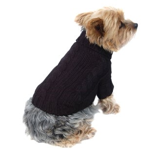 Anima Black Classic Cable Knit Dog and Pet Sweater