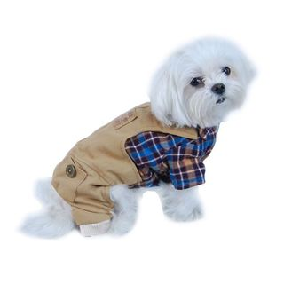 Anima Blue/ Brown Plaid Top with Khaki Overalls Dog and Pet One-Piece