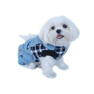 Anima Blue/ White Plaid Top with Denim Overalls Dog and Pet One-Piece