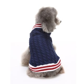 Anima Dark Blue Stripe Trimmed Cable Knit Dog and Pet Sweater