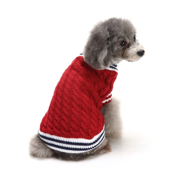 Anima Red Stripe Trimmed Cable Knit Dog and Pet Sweater
