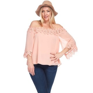Hadari Women's Plus Size Off Shoulder Crochet Lace Blouse