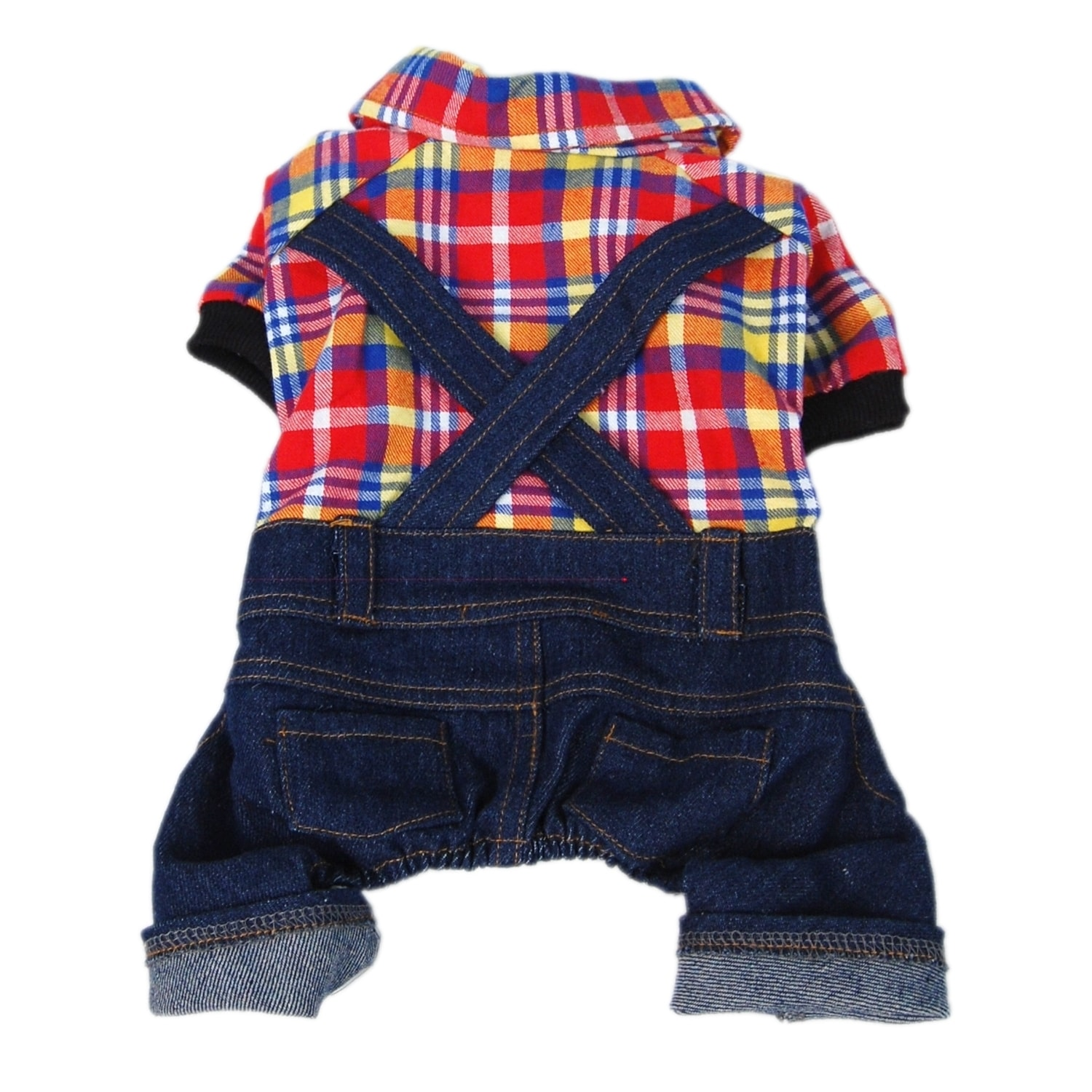 ANIMA Red/ Yellow/ Blue Plaid Top with Denim Overalls Dog...