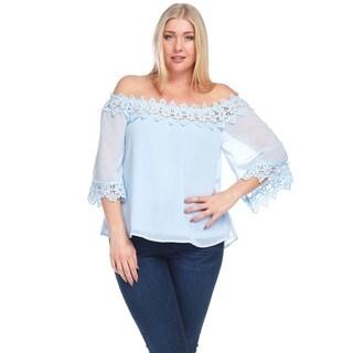 Hadari Women's Plus Size Off Shoulder Crochet Lace Blouse