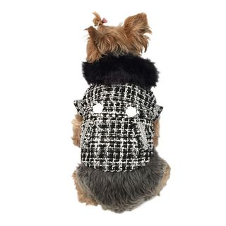 Anima Black/ White Faux Fur Collared Fashion Trench Coat for Dogs