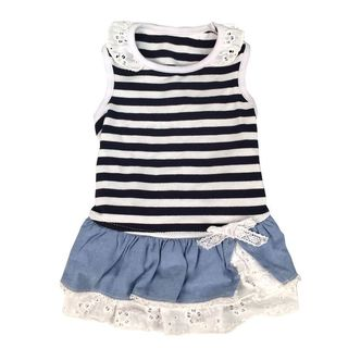 Anima Blue/ White Stripe Dog Dress with Cotton and Lace Layer Skirt