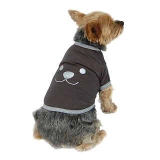 Anima Dark Grey Cute Fun Face Dog and Pet T-Shirt