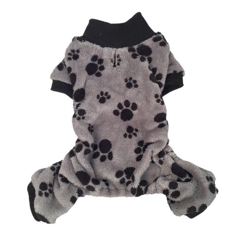 Anima Gray/ Black Paw Print Soft Coral Fleece Dog and Pet...