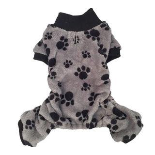 Anima Gray/ Black Paw Print Soft Coral Fleece Dog and Pet Pajamas
