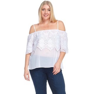 Hadari Women's Plus Size Spaghetti Strap Off Shoulder Crochet Blouse Top
