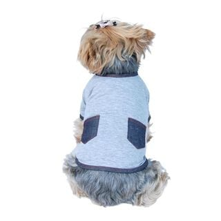 Anima Grey Cotton Dog T-Shirt with Pockets
