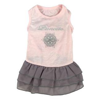 Anima Pink/ Grey Princess Dog Dress with Decorative Rhinestone Design