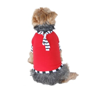 Anima Red Pet Puppy Dog Stripe Tie T-Shirt
