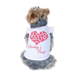 Anima Sweet Pink Rhinestone DADDY'S GIRL Dog Shirt with Glittery Heart on Back
