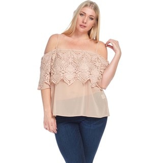 Hadari Women's Plus Size Spaghetti Strap Off Shoulder Crochet Blouse Top