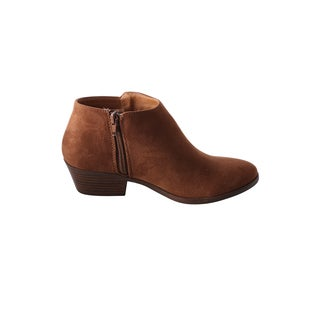 Hadari Women's Low Ankle Faux Suede Bootie with Side Zip