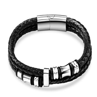 Zodaca Black/ Silver Mens Fashion Genuine Leather Titanium Steel Beads Braided Bracelet