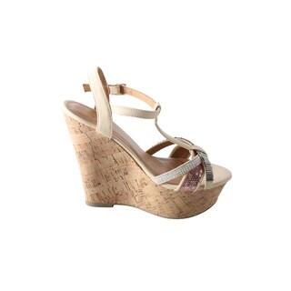 Hadari Women's Peyton T-Strap Wedge Sandal