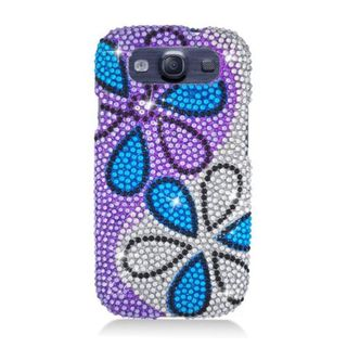 Insten Blue/ Purple/ Silver Flower Full CS Diamond Protector Case Cover for Samsung Galaxy S3 I9300