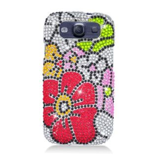 Insten Red/ Green Flower Full CS Diamond Protector Case Cover for Samsung Galaxy S3 I9300