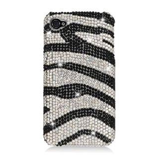 Insten Black/ Silver Zebra Full CS Diamond Protector Case Cover for Apple iPhone 4/ 4s